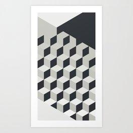 Gradient Cubes – Ebony Black / Warm Gray Abstract Print Art Print