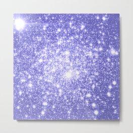 Lavender Periwinkle Sparkle Stars Metal Print