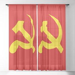 Soviet Union Hammer and Sickle Communist flag. Sheer Curtain