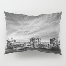 Caerphilly Castle Panorama Monochrome Pillow Sham