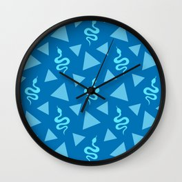 Crawling snakes silhouettes and abstract triangle shapes. Stylish classy whimsical artistic dark blue retro vintage geometric animal nature pattern. Reptiles. Geometry. Wall Clock