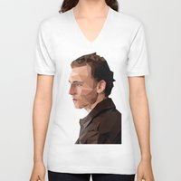 tom hiddleston V-neck T-shirts featuring Tom Hiddleston - Low Poly by khitkhat