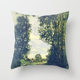 Claude monet road to the saint simeon farm 1864 Impressionism Throw Pillow