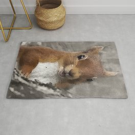Woodland animals squirrel Smiling back at you Rug