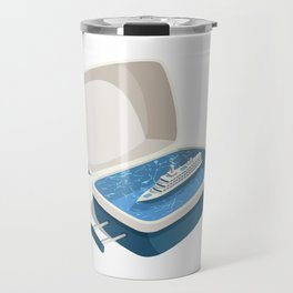 Cruise  ship in a suit  case, creative vector illustration, travel concept Travel Mug