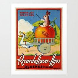 old ricardo llacer e hijos algemesi espagna poster vintage Poster Art Print