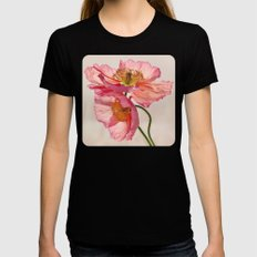 Like Light through Silk - peach / pink translucent poppy floral MEDIUM Black Womens Fitted Tee