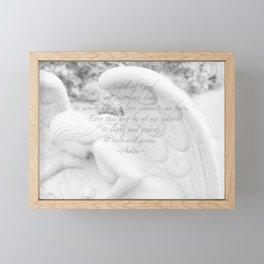 Guardian Angel Prayer | White Angel | Religious Art | Baptism | First Communion Framed Mini Art Print