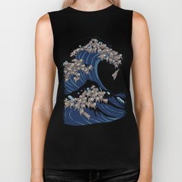 The Great Wave of Sloth Biker Tank