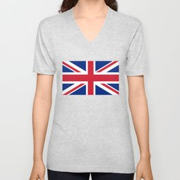 UK FLAG - The Union Jack Authentic color and 3:5 scale  Unisex V-Neck