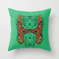 tigers Throw Pillows featuring Tigers by Ornaart
