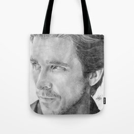 Christian Bale Traditional Portrait Print Tote Bag