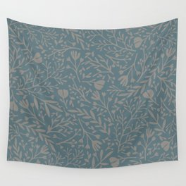 Scattered Flowers, Putty and Teal Blue Wall Tapestry