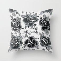 Dozen Roses - Black and White Throw Pillow
