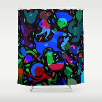 party Shower Curtains featuring Party! by Judy Kaufmann