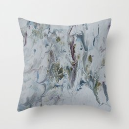 Teal, Eggplant, and Gold Marble Throw Pillow