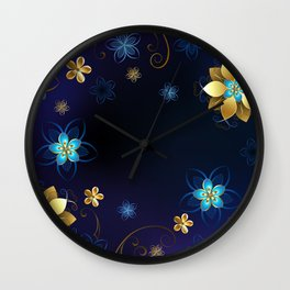 Blue Background with Flowers Wall Clock