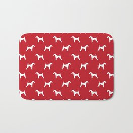 Airedale Terrier red and white minimal dog pattern dog silhouette pattern Bath Mat
