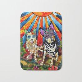 Australian Cattle Dog Sugar Skull Painting Bath Mat
