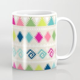Vintage white faux leather colorful aztec tribal Coffee Mug