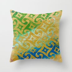 Green to blue on brown Throw Pillow