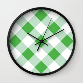 Gingham - Green Wall Clock