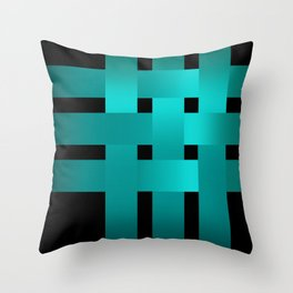 Abstraction .Weave turquoise satin ribbons . Patchwork . Throw Pillow