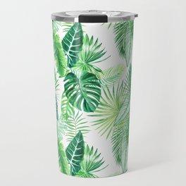 palm leaves watercolor pattern Travel Mug