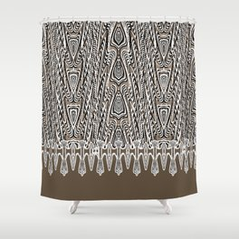 Dark Coffee Macramé Arrowhead Lace Pattern Shower Curtain