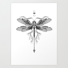 Dragon Fly Tattoo Black and White Art Print