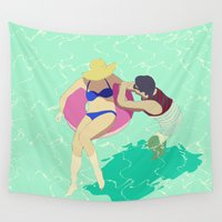 pool Wall Tapestries featuring Pool by ministryofpixel