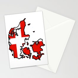 Denmark Map with Danish Flag Stationery Cards