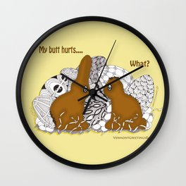 Chocolate Easter Bunny Problems Children Illustrations Wall Clock