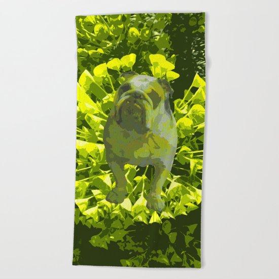 Green Pug Beach Towel