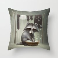 raccoon Throw Pillows featuring Raccoon by Antracit