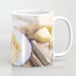 Spaghetti with meatballs and parmesan cheese on a rustic table Coffee Mug