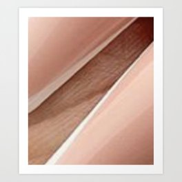 Nude Pink and White with a light Brown background Art Print