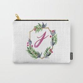 Jungle Gold Monogram Crest J Carry-All Pouch