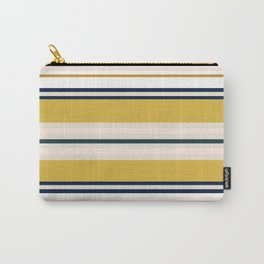 Variegated Horizontal Stripes in Mustard, Navy Blue, Blush, White, and Taupe Carry-All Pouch