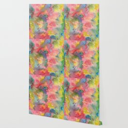 Abstract flower field, watercolor pattern, colorful Wallpaper