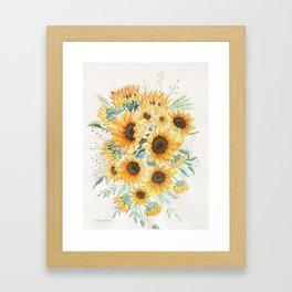 Loose Watercolor Sunflowers Framed Art Print