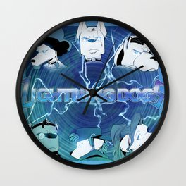 Lightning Dogs: Farfetched :: by Tony Baldin Wall Clock