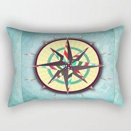 Striped Compass Rose Rectangular Pillow