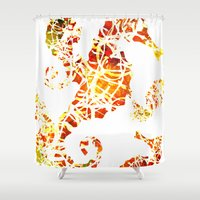 sea horse Shower Curtains featuring Sea-Horse by LIGHTNING9
