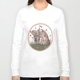Tiger, Baby Elephant, and Mouse Playing in Poppies Long Sleeve T-shirt