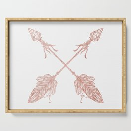 Tribal Arrows Rose Gold on White Serving Tray
