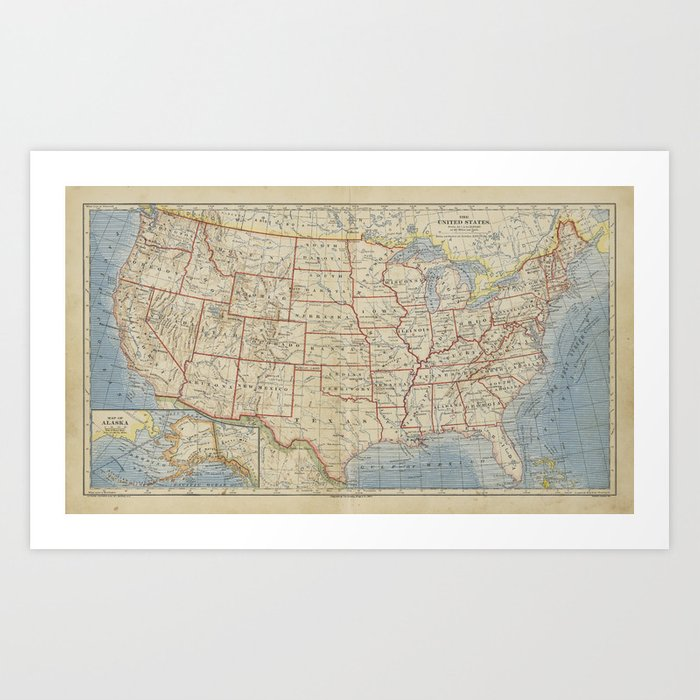 Old And Vintage Map Of Every States Of The United States Of America