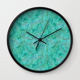 Layered Watercolor Leaves Wall Clock