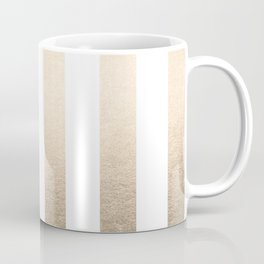 Simply Vertical Stripes in White Gold Sands Coffee Mug