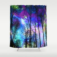 decal Shower Curtains featuring fantasy sky by haroulita